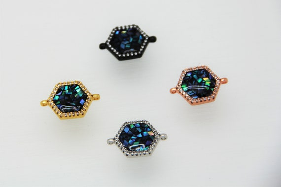 Abalone Mosaic With CZ Micro Pave 14mm Hexagon Connectors