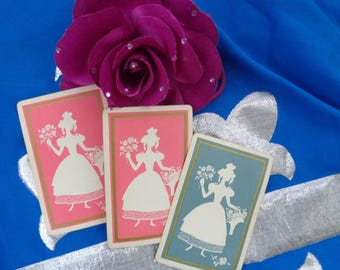 Vintage Set of three Cottage Decorative Old Fashioned Playing cards pink/blue lady with flower basket