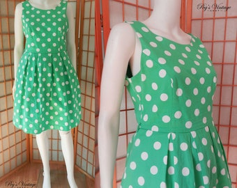 Summer Vintage Pinup Dress, Polka Dot Green & White Sleeveless Dress Size M/L