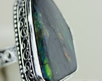 Size 9 GENUINE CANADIAN AMMOLITE (Nickel Free) 925 Fine S0LID Sterling Silver Ring & Free Worldwide Express Shipping r1651