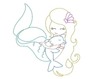 Cute mermaid and dolphin machine embroidery design. Colorwork beanstitch embroidery Instant download embroidery design.