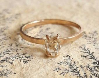 Tiny Herkimer Diamond Quartz Crystal Ring - Gold Fill Ring - Delicate Crystal Ring - Stacking Ring - Gold Stack Ring - Minimalist Gold Ring