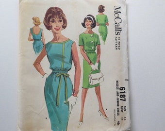 Vintage 1961 McCall's dress pattern, Bust 36, size 16, uncut, straight skirt, sleeveless or short sleeves