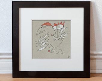 Original image 15/15 cm (5.9/5.9 inch) bird, animal, human abstract