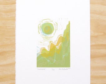 """Woodblock Print - """"Sunscape"""" - Landscape with Sun - Printmaking"""
