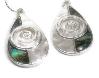 Abalone Teardrop Earrings, Dangle Earrings, Abstract Oval Drop Earrings with Abalone, Scroll, Shell Earrings, Beach, Ocean, Sea, Paua Shell