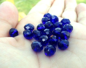 Cobalt Blue Faceted Glass Rondelle Beads- 8mm - (20)