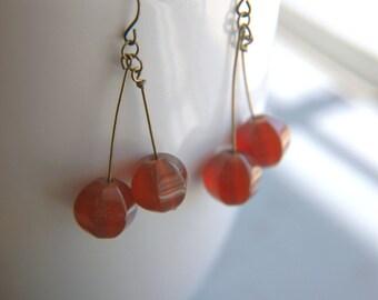 Gemstone Dangle Earrings Carnelian Minimalist Statement - Dark Cherries II.