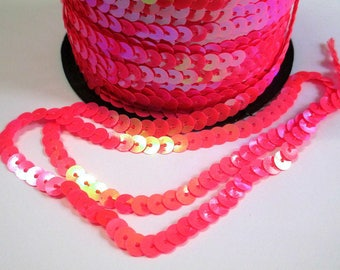 5 m Ribbon lace sequin pink 6mm