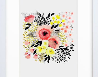 A4 Original Art Print/ Archival Print/ Wall Art/ Claire Picard/ Gifts for her/ Gifts for the home/Contemporary Floral Art