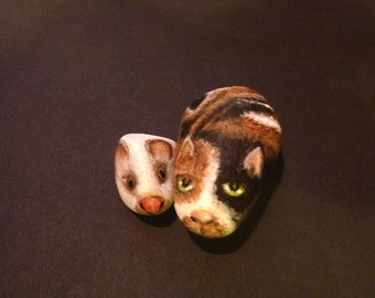 Cat and Mouse stones, Mother's Day gift, Desk art, Painted rocks, River Rock, Unique gift, Cat lover, Calico cat,