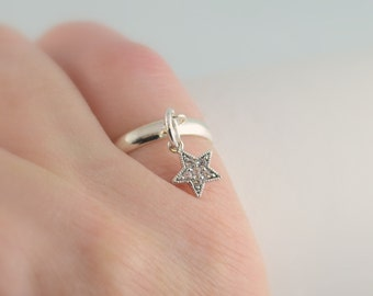 Silver Star Ring, Charm Ring, Cubic Zirconia, Adjustable Size, Silver Plated Brass Jewelry