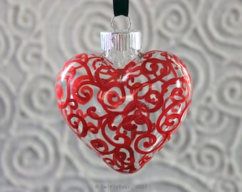 Red, Swirly Glass Heart ornament, hand painted