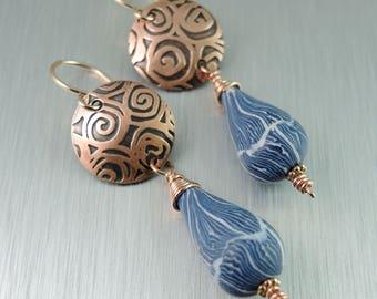 Copper and Polymer Clay Earrings - Poly Clay Dangle Earrings - Blue Copper Earrings