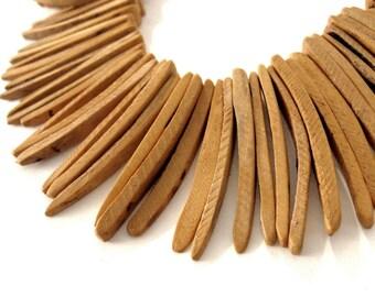 Peach Orange Burnt Wood Stick Beads - coconut indian stick 1 1/2 inch - 25pcs