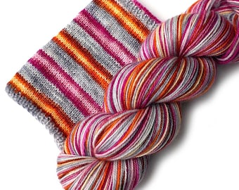 Self Striping Hand Dyed Sock Yarn Merino Nylon - Come What May