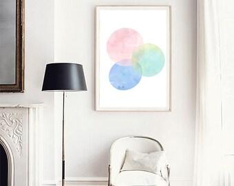 Abstract print, Colorful art, Geometric print, Abstract Watercolor, Pastel wall art, Scandinavian art, Kids prints, Minimalist art poster,