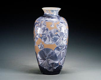 Porcelain Vase - Crystalline Glaze  - Blue, Grey - Hand Made Ceramics - FREE SHIPPING - #A-5400