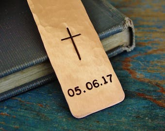 Cross Bookmark, Date Bookmark, Custom Hand Stamped,Religious Gifts for Boy or Girl, Baptism Gift, First Communion Gift, Confirmation Gift