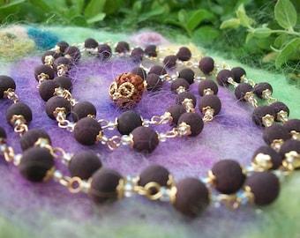 Mala Beads, Prayer Beads Zen Hindu Guru Meditation Beads Fragrant Handmade Rose Petal Beads with Rudraksha Guru Bead,