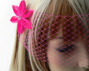 Hot Pink Wedding Veil