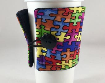 Autism Insulated Fabric Coffee Sleeve, Autism, Fabric Cup Sleeve, Custom Fabric Cup Sleeve, Cup Sleeve, Cup Cozy, Coffee Cozy, Coffee, Gift