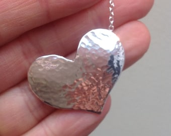 Sterling silver handmade hammered & curved heart pendant