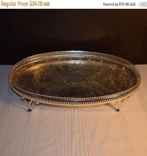 Delayed Shipping Mayell Queen Anne Footed Tray Vintage EP on Steel Serving Tray Made in England Claw Footed Servingware Holiday Dinner Party