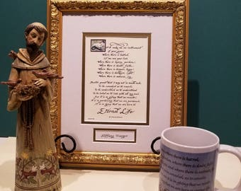 Prayer of St. Francis Lord make me an instrument of your peace framed and matted in two sizes includes FREE St. Francis coffee mug