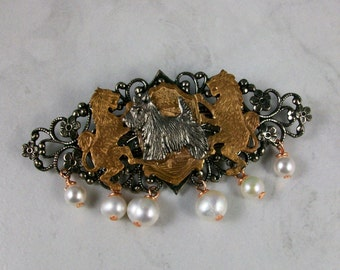 Sir Francis Scotty Mixed Metal and Pearl OOAK Scottie Brooch Pin - P-55s