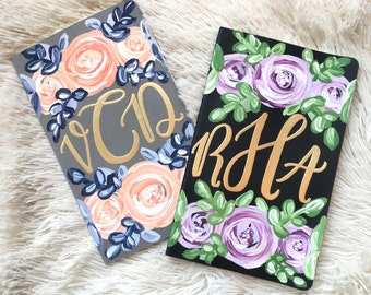 Monogrammed handpainted journals// gold monogram // monogrammed // journal // personalized journal