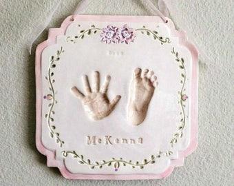 Personalized Baby Keepsake - Newborn Keepsake - Personalized Baby Nursery - Baby Handprints - Newborn Prints -  Handprint Mold - Print Kit