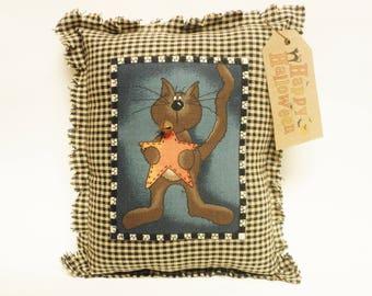 Black Cat Pillow, Halloween Decor, Primitive Country Fall Decor, Decorative Pillows
