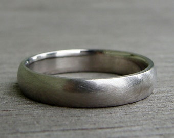 Palladium Wedding Band / Ring - Recycled 950 Palladium, Matte / Brushed, 4mm Wide, Comfort Fit, Eco-Friendly, Ethical, Made To Order