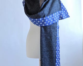 Blue denim - scarf grey oversized lightweight English Tweed, printed viscose blue background
