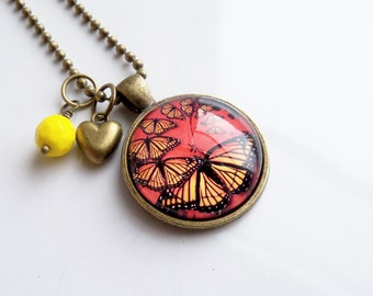 Monarch Butterfly Necklace - Art Pendant -  You Choose Bead and Charm - Custom Jewelry -  Customized - Grunge Monarch Butterfly - Nature
