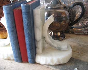 White Italian Alabaster bookends.