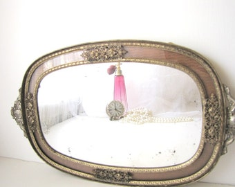 Antique Apollo Mirror Tray Ormolu Mirror Ornate Gold from AllieEtCie