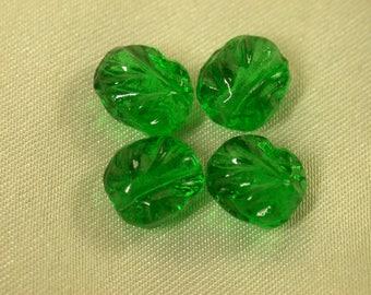 VINTAGE GERMAN Pressed GLASS Beads Green Textured 8x5mm pkg4 gl438