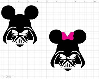 Mickey and Minnie Darth Vader SVG EPS DXF Studio3  Cut File