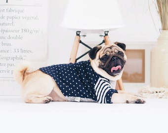 Oh! Basic Boat Neck Tshirt/ Navy Blue Polka Dot Cotton Knit