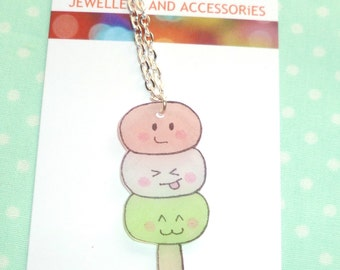 Kawaii dango shrink plastic necklace - pink, white and green