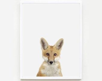 Baby Animal Nursery Art Print. Baby Fox Little Darling. Baby Animal Print. Baby Animal Wall Art. Animal Nursery Decor. Baby Animal Photo.