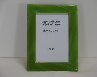 Dark Green 5X7 Fused Glass Picture Frame