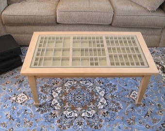 Wood coffee table, collection table, cocktail table, letterpress type tray built in to a table for display of seashells, jewelry and more.