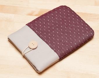 Kobo Aura case /  kindle sleeve / Kindle paperwhite case / kobo glo HD sleeve - Red dots in grey -