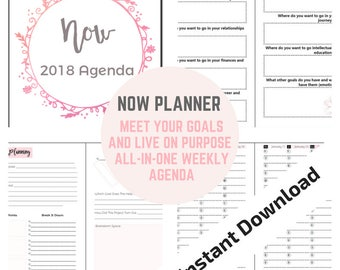 6x9 inch Now Planner: All-in-One Multi Purpose, Affordable 2018 Weekly Agenda INSTANT DOWNLOAD