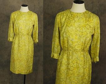 Vintage 50er Jahre Wiggle Kleid - 1950er Jahre gelbe Blumen Seide Kleid Sz XS S