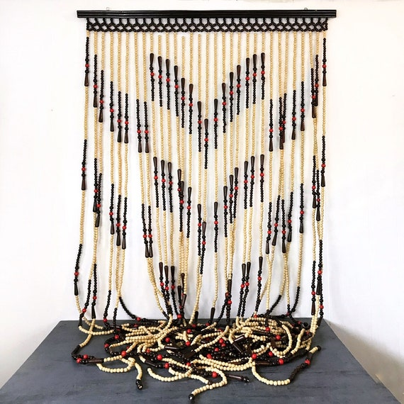vintage beaded curtain - wood bead doorway panel - room divider - boho wall hanging - privacy screen - hippie gypsy style