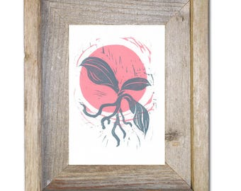 Two-Toned Harold the Orchid Linocut Print - 5X7 inches